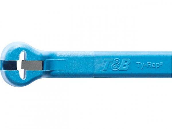 Stahlnasenkabelbinder Ty-Rap 340x7,0mm, Farbe: Hellblau VPE: 50 Stück, detektierbar
