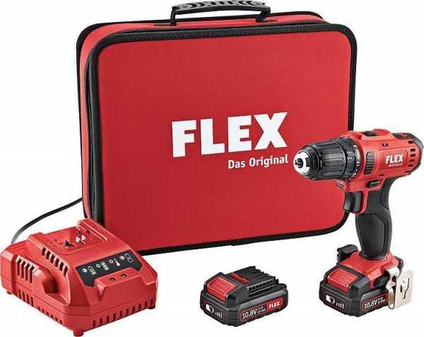 FLEX Akku-Bohrschrauber DD 2G, 10,8 V mit Akku 2 x 2,5 Ah Li-Ion, mit Ladegerät