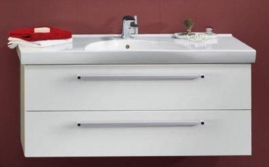 LANZET 7107512 K3 Waschtischunterschrank: 118/48/43,5 Weiß/Pinie, 2 Schubladen