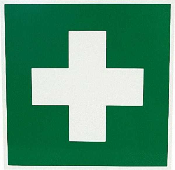 Rettungszeichen nach DIN 4844 ''Erste Hilfe'', 20 x 20cm Kunststoff