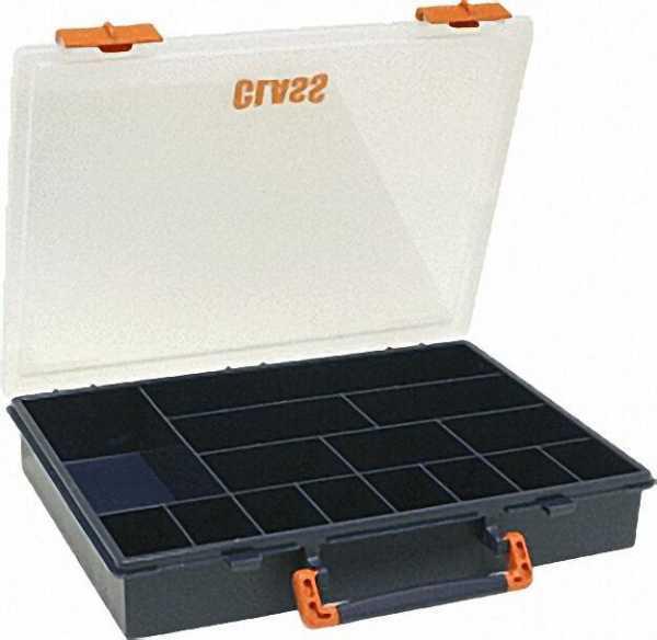 Kleinteilebox blau mit 15 Fächern l=325mm, b=260mm, h=55mm