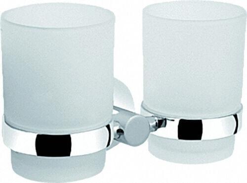 Glashalter doppelt Serie 8000 Messing, verchromt Kristallglas