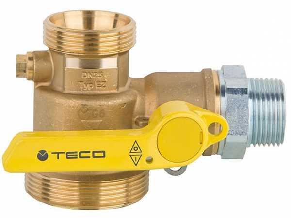 Gasabsperr-Kugelhahn Thermischer Absperrsicherung, PN 5, HTB 650°C/30 Min. f. Einrohrzähler, Eckform
