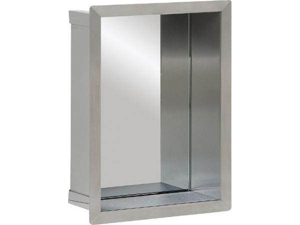 Wandnische Edelstahl, Spiegelrückwand, Tiefe 100 mm, BxH: 235x325 mm Bad Edelstahl-Wandeinbaunische