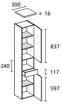 LANZET 7123812 Hochschrank 30/182/30 rechts Grafit/Grafit, 2 Türen/1 Schublade
