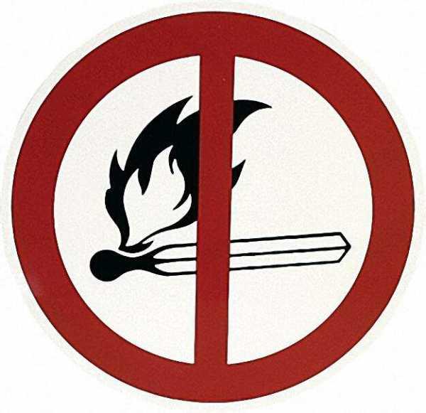 Verbotszeichen, D= 20cm ''Feuer, offenes Licht und Rauchen verboten'', Klebefolie