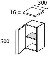 LANZET 7116512 Unterschrank 30/60/30 links Weiß/Pinie 1 Tür