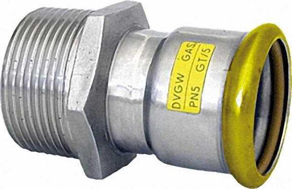 Edelstahl-Pressfitting Gas Übergangsstück, 28 x 1'' (i/AG)