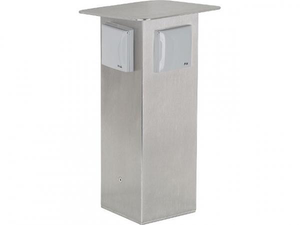 Garten-Steckdosensäule aus Edelstahl, 2x Schutzkontakt- steckdose 230V, 50Hz