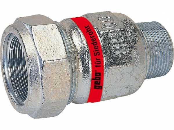GEBO Temperguss-Klemmverbinder mit AG Wasser PN10, Typ A 1 1/4'' Stahlrohr x 44,5mm Siederohr