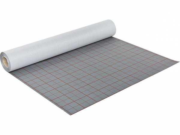 103 m² Fußbodenheizung Bändchengewebefolie mit Rasteraufdruck Rollenbreite 103 cm silber/rot