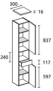 LANZET 7133612 Hochschrank 30/182/30 rechts Weiß/Pinie 2 Türen / 1 Schublade Ni