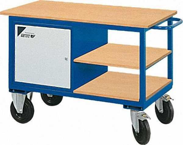 METEC Werkstatttischwagen Farbe: blau 835x1300x600mm mit Stahlblechschrank