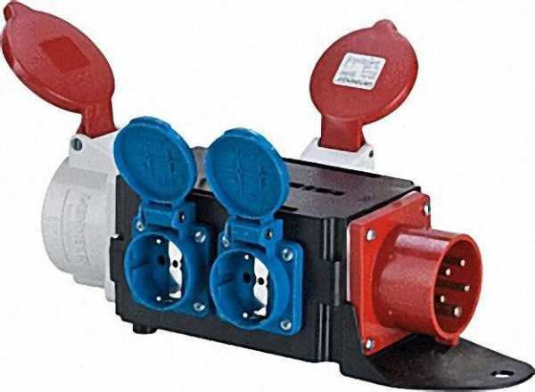 CEE-Adapter/Verteiler Eing. :CEE-Stecker 16A Ausgang :CEE-Kuppl. 16/32A, 2xSchuko
