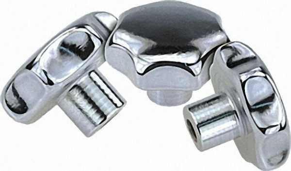 Sterngriff Form E geschliffen und poliert mit Gewindesackloch M 8 Niro