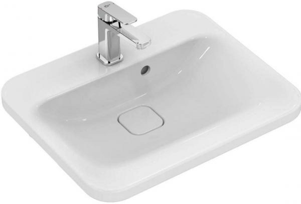 IDEAL STANDARD K0835MA Tonic II Halbeinbauwaschtisch 52 x 41 cm, weiß/Ideal Plus, mit Überlauf