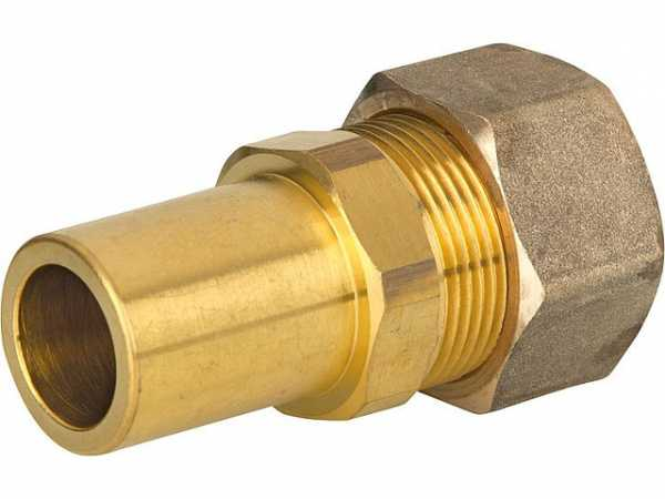 Verschraubung für Spiralrohr DN15x22mm Stutzen Messing mit Graphit Hochtemepraturdichtung