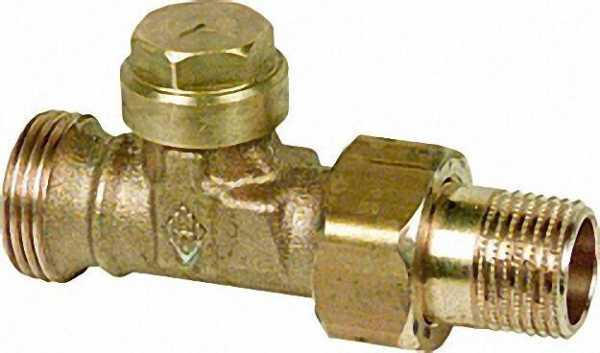 Rücklaufverschraubung DN 15 Anschluss R 1/2 Verschraubung mit Absperrung und Feinstregulierung