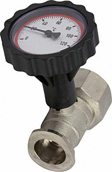 VL-Pumpenflanschkugelhahn 1 1/4'' mit Thermometerhandgriff rot vernickelt