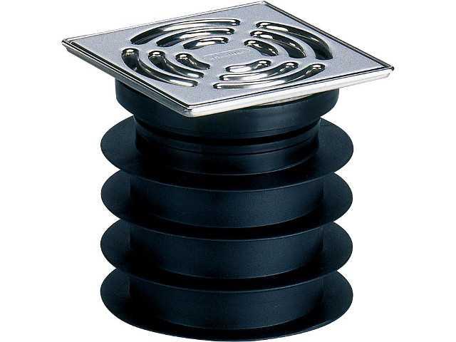 Pronto V2A-Einsteckablauf DN 125 Bodenablauf 120 x 120 mm senkr
