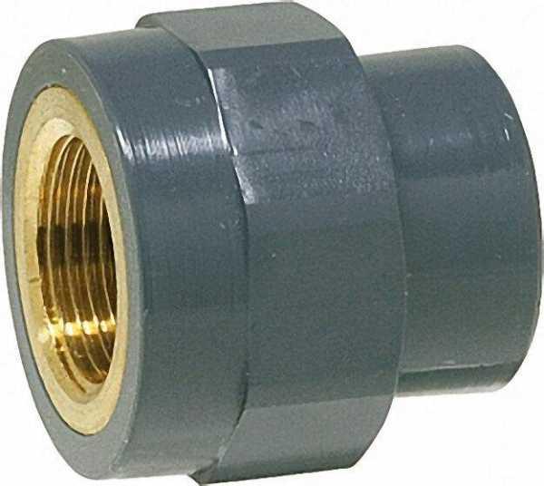 PVC-U - Klebefitting Übergangs-Gewindemuffe, 20mm x 1/2'', IG, Rotguß vernickelt