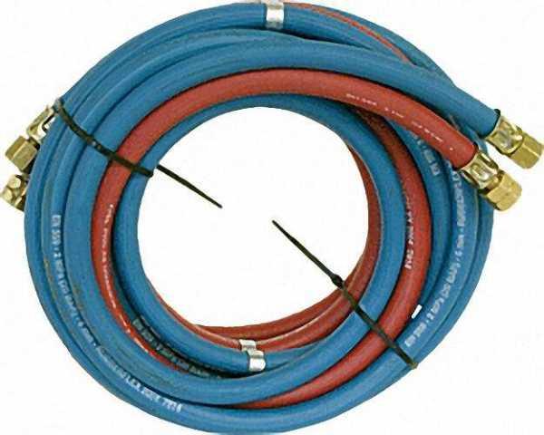 Acetylen- und Sauerstoffschlauch, fertig konfekt. 9x3,5mm(A), 6x5,0mm(S), 25m Tülle und Überwurfmutt