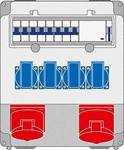 Steckdosen-Kombination CEE-Steckdosen: 1x5/32A+1x5/16A 4 Schuko-Steckdosen