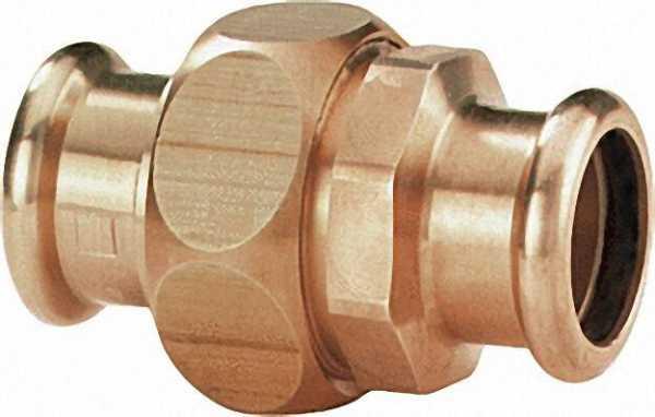 Rotguß Pressfitting Verschraubung i/i D: 22mm Typ 6330 flachdichtend, 2 Pressenden