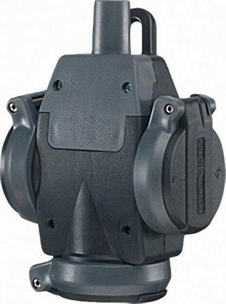 Schuko-uLiter-3fach-Vollgummi- Hängekupplung, IP 54, schwarz