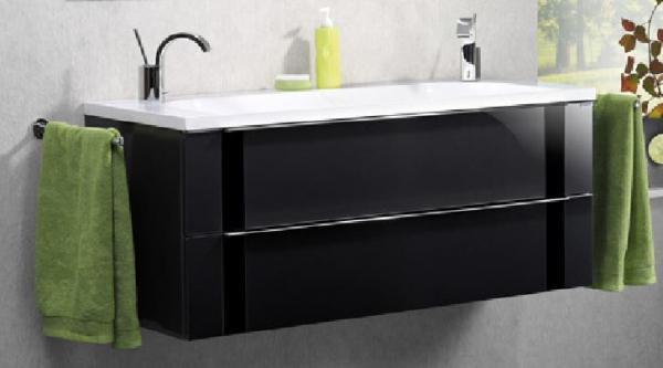 LANZET 7272812 VEDRO Waschtischunterschrank: + Becken 119x48x49 Grafit/schw, 2 Schubladen