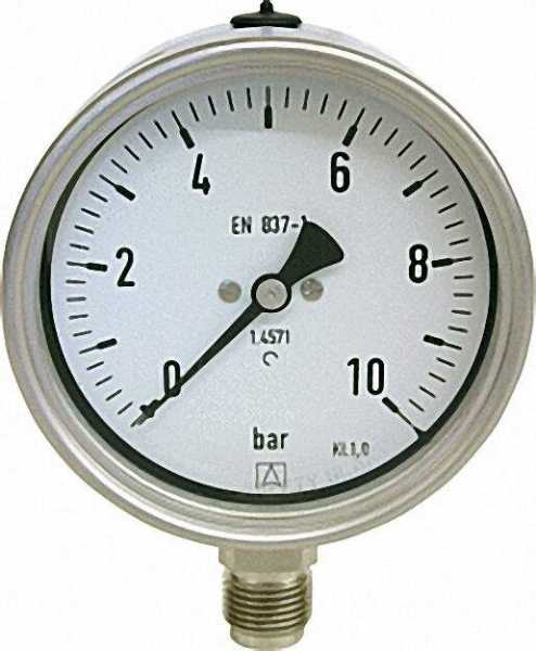 Manometer Chemie 0-6 bar, 100 mm für G1/2