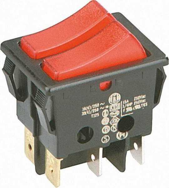 Wipp-Schalter mit roter Kontroll-Lampe 30x22mm, 2 x 1 -polig
