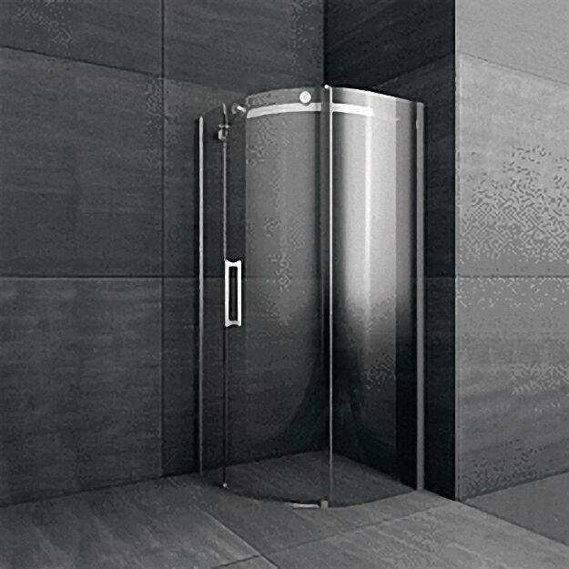 Duschkabine 1/4-Kreis, R=550mm, Tür nach links, Sicherheits-Glas 8mm,