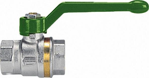 EFFEBI Messingkugelhahn ASTER ACS IG/IG 1 1/2'' DVGW-zertifiziert mit grünem Aluminium Handhebel