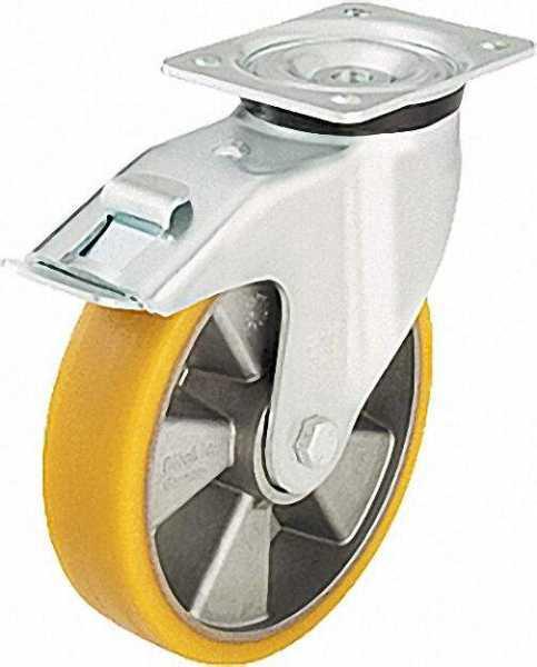 BLICKLE Schwerlastlenkrolle mit Feststeller LK-ALTH 200K-FI, Tragfähigkeit 600 kg Rad D= 200mm, Plat