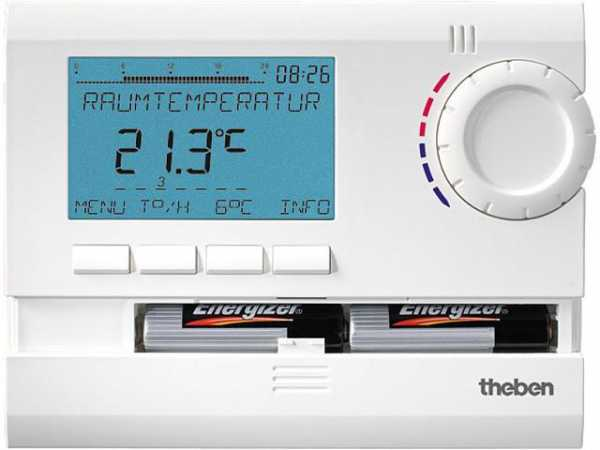 THEBEN RAMSES 831 top Uhrenthermostat digital 24h/7d, Ferienprogramm RAL 9010 weiß (Batterieversion)