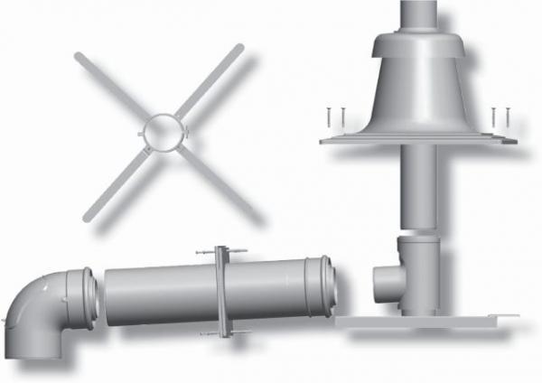 WOLF 2651497Z06 Paket für Abgasleitung mit Schachteinbau DN 80/125,10 m,Kunststoff