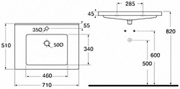 EVENES Waschtisch TRENDY BxHxT:710x115x510mm mit 1 Hanhloch