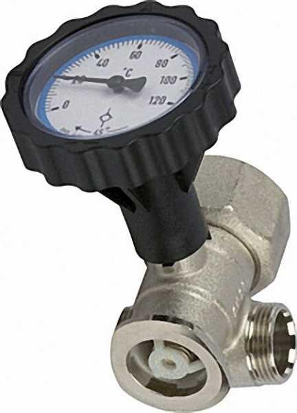 EVENES 4-Wege RL-Pumpenflanschkugelh. 1'' mit Thermometerhandgriff blau vernickelt SKB aufstellbar