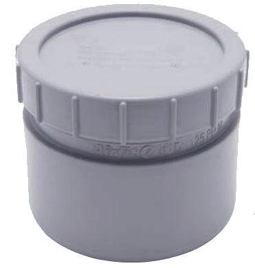 AIRFIT Endstopfen mit Schraubverschluss-Kappe, grau zum Einstecken in eine Muffe - DN 125