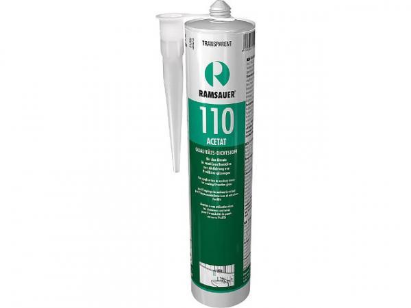 RAMSAUER Silikon Acetat 110, transparent, schnellhärtende dauerelastische 1-K-Silicon Dichtungsmasse, 310 ml