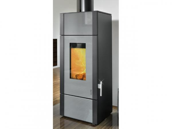 Buderus Kaminofen Giro water+, 8 kW, Glas Dekor grey, Stahl black, 7736661326