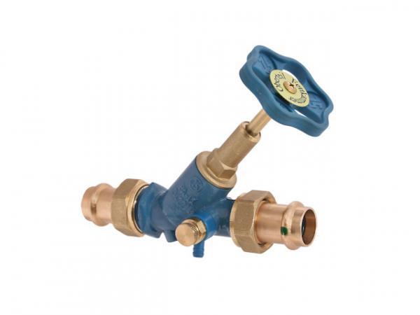 Freistromventil, Serie Blue-tec, mit Pressanschluss (Außengewinde), mit Entleerung, mit steigender Spindel, DN40, Pressdurchmesser 42mm, DVG