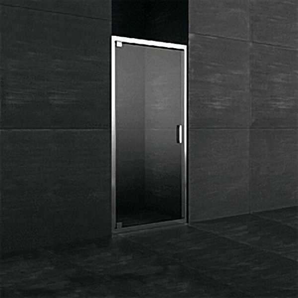 Nischentür mit Rahmen, 90°, Alurahmen chrom, Sicherheits-Glas 6mm, 850x1950mm, Montage links und rec