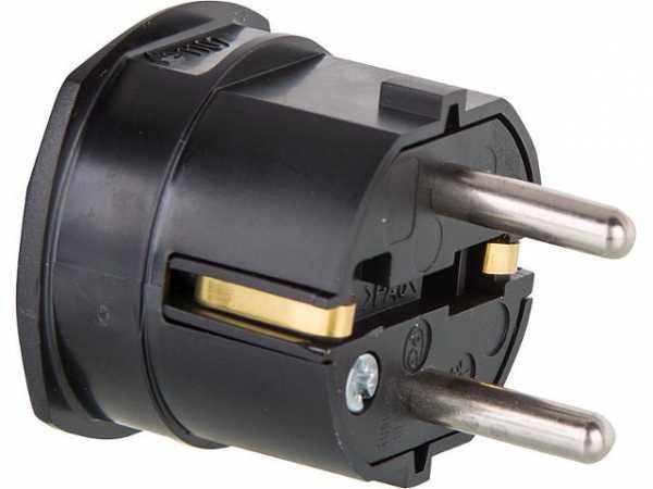 Schutzkontakt-Winkelstecker 2-polig - schwarz 16A - 250V