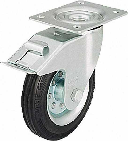 BLICKLE Vollgummilenkrolle mit Feststeller LE-VE 160R-FI, Tragfähigkeit 135 kg Rad D= 160mm, Platten