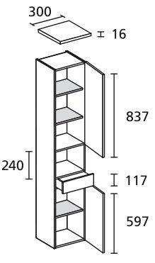 LANZET 7123612 Hochschrank 30/182/30 rechts Pinie/Piniei, 2 Türen / 1 Schublade Ni