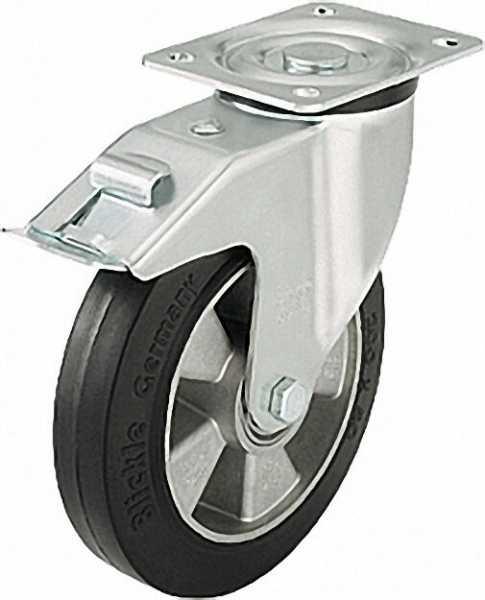 BLICKLE Schwerlast Lenkrolle mit Feststeller L-ALEV 160K-FI, Tragfähigkeit 350 kg Rad D= 160mm, Plat