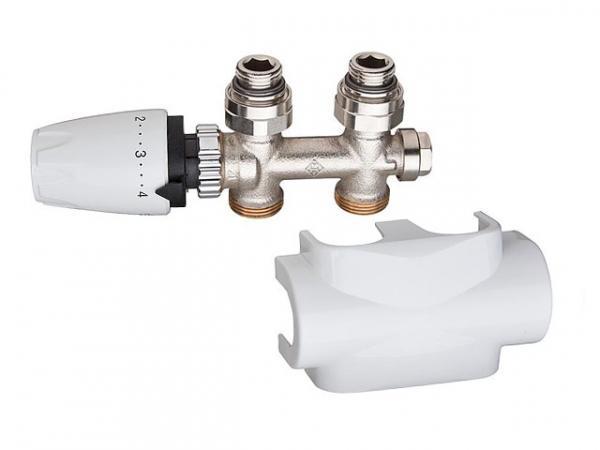 Heimeier 9690-59.000 Multilux Ventilset Durchgang, inklusive Designline Verkleidung+Thermostakopf DX, weiß