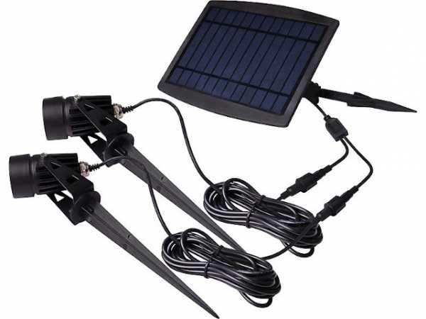 Solar-Akku Beleuchtungs-Set 2x Spot 70lm mit 3m Kabel inkl. 2x Erdspieß